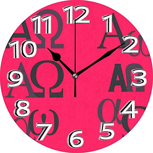 jifyasuo Reloj de Pared 9.5in Alpha Omega Silent Home Office Decor Reloj sin tictac Decorativo de Oficina
