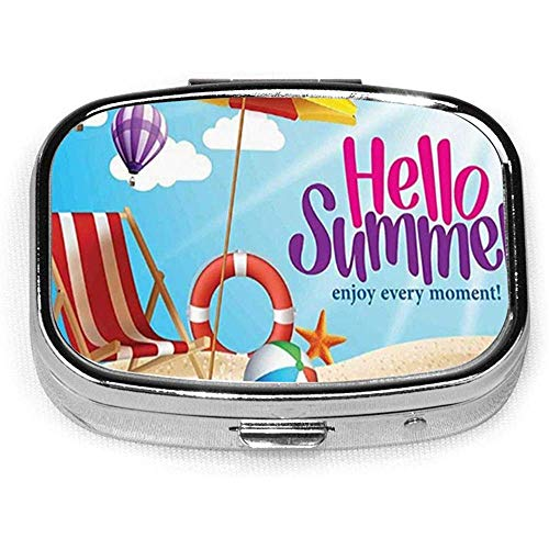 Hallo zomer Geniet van elk moment citaat met Sandy Beach Paraplu Holiday Design CustomSquare Pill BoxCaseBox