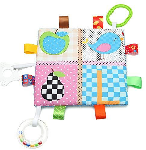 Manta de Etiquetas para Bebés Suave Manta de Seguridad para Bebés, Multicolor Mantita Sensorial para Niños y Niñas, Regalo del Bebé(Pájaro y Pera)