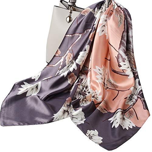 Ecroon Sciarpa Di Seta per Donna Grande Raso Quadrato Testa Collo Sciarpe Leggero Neckerchief Elegante Sciarpina (L, One size)