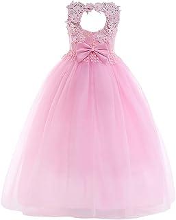 IBTOM CASTLE Girls Flower Vintage Lace Princess Dress Kids Tulle Retro Pageant Party Wedding Floor Length Dance Evening Gown
