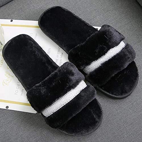 Zapatillas de algodón para Mujer Zapatillas peludas decoración de Metal Zapatillas para Mujer Zapatillas de Felpa de Piel mullida de Moda Zapatos cálidos y Transpirables de otoño Invierno