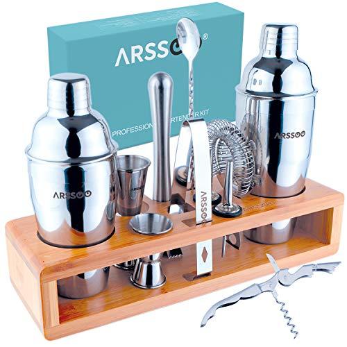 Kit de bar ARSSOO - 15 pièces - Kit barman professionnel - Shaker à cocktail, shaker à martini, mélangeur à boissons, outil de boulanger, passoire, ouvre-vin, jigger x2, verseur et accessoires de bar