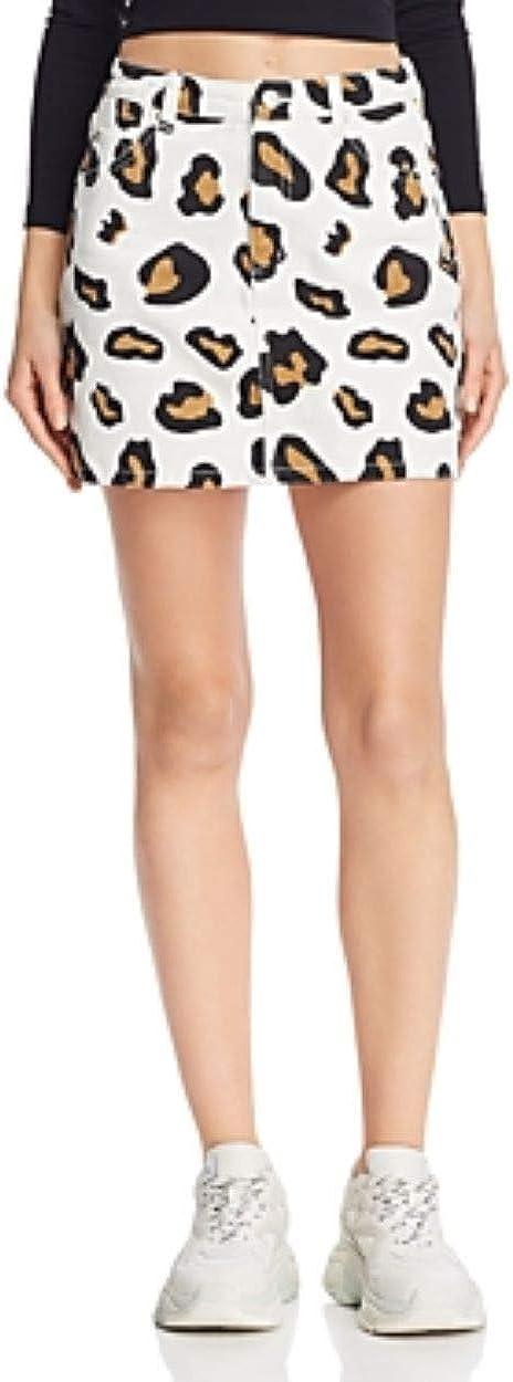 Sunset & Spring Womens Animal Print Casual Denim Skirt White L