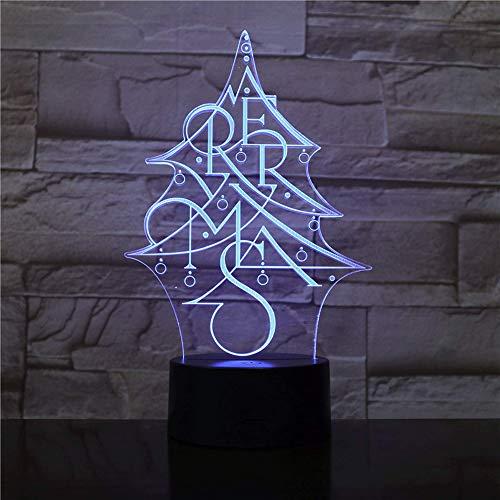 TIDRT Lettre Créative Arbre De Noël 3D Veilleuse Téléphone Intelligent App Console Lumière Noël