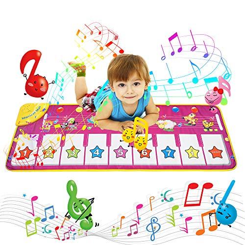 AOLUXLM Giocattoli per Bambini, Tappeto Musicale Piano Mat Giocattoli Bambina Tappetino da Ballo Musicale Tocca la Tastiera, Giochi Bambina 1 Anno - 8 Anni Regali Natale