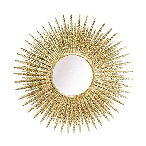 ZHENAO Ilustraciones Pared Pared de Metal Que Cuelga Del Espejo en Forma de Resplandor Solar, Espejo Decorativo de la Pared, Gold Radiance 34,6 Pulgadas Listo para Colgar retro