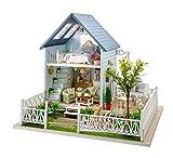 Handgefertigtes Holz-Puppenhaus zur Selbstmontage, Miniaturset, Waldvilla und Möbel, Spieluhr