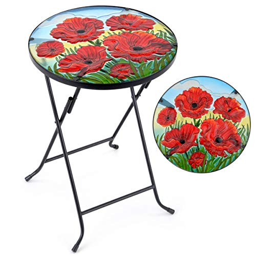 CHRISTOW Bistro Table Glass Top, Small Folding, Garden Gift, Outdoor Patio Decoration, Hand Painted, UV Resistant, Poppy