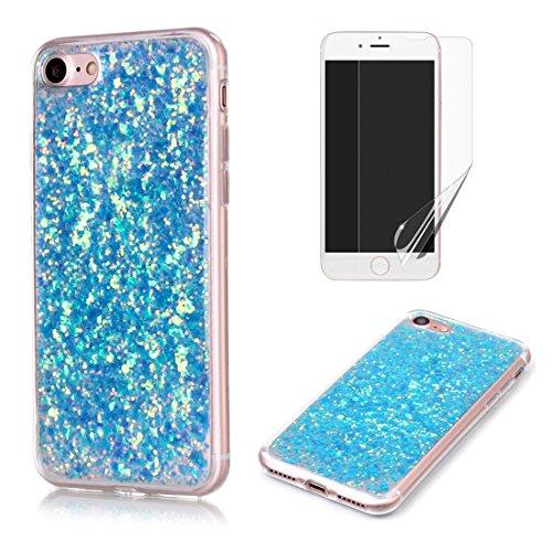 Pour Coque iphone 6 / 6S Silicone Souple Étui avec Écran Protecteur, OYIME [Paillette Brillante Bleu] Housse Glitter Luxe Ultra Fine Transparent Couverture Anti-Scratch Flexible