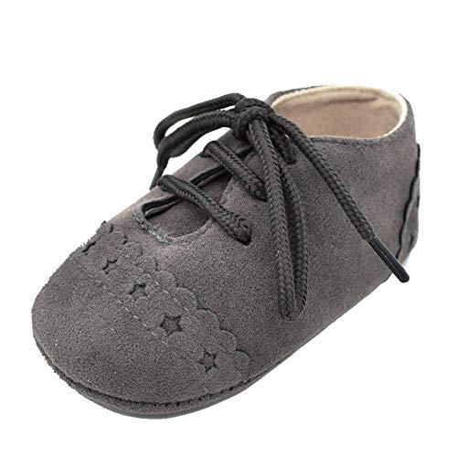 Baby Mädchen Jungen Lauflernschuhe Krabbelschuhe Schuhe Sneaker Anti-Rutsch Soft Sohle Schnürschuhe Kinderschuhe (12~18 Month, Dunkelgrau)