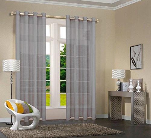 Uni  -20332CN- 2er-Pack Grau Vorhang Transparent Gardinen Set Wohnzimmer Voile Vorhang Ösenvorhang HxB 245x140 cm mit Bleibandabschluß Grau
