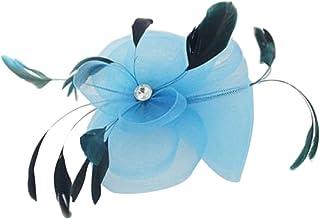 Matrimonio Piuma Fantasia Ascot Corsa Fascinator Sulla Clip Di Accessori Per Capelli Blu