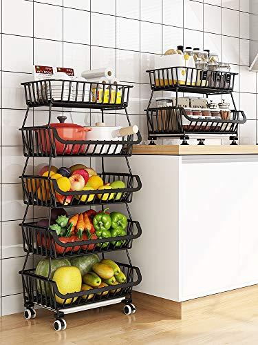 RETMI Frutero negro con 5 animales, cesta de fruta para la organización de la cocina, organizador de alambre multiusos, para despensa, baño, 5 niveles