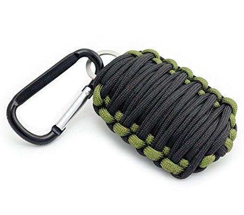Schlüsselanhänger zum Fischen Paracord-Granate Paracord Seil Angelschnur und Fischhaken Feuerstarter Set in schwarz-olivgrün von der Marke PRECORN