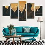IIIUHU Bilder Abstrakt 5 Teilig Wandbild XXL