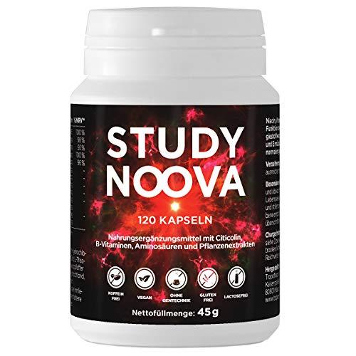 BRAIN BOOSTER¹ STUDY NOOVA | Konzentration Tablette¹ | Nootropic¹ mit Vitamin B5 für geistige Leistung², B3 für Nerven⁴⁶, B6 für weniger Ermüdung³, Citicholin (CDP-Cholin) uvm.