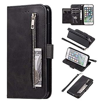 EYZUTAK Wallet Case for iPhone 6 Plus iPhone 6S Plus 5 Card Slots Magnetic Closure Zipper Pocket Handbag PU Leather Flip Case with Wrist Strap TPU Kickstand Cover for iPhone 6 Plus/6S Plus - Black