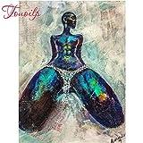 XCxCN 5D-DIY-Diamond Pintura como un Kit de Diamantes Redondos Mujer Africana Rhinestone Bordado artesanía para decoración de Paredes sin Marco -40x50cm