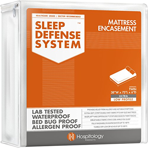 HOSPITOLOGY PRODUCTS Sleep Defense System - Zippered Mattress Encasement - Twin - Hypoallergenic - Waterproof - Bed Bug & Dust Mite Proof - Stretchable - Ultra Low Profile 6' Depth - 38' W x 75' L