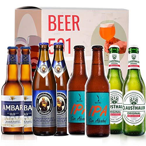 Pack de cerveza degustación BEER 501 - Caja Sin Alcohol: Ambar, Gastro IPA Sin Alcohol, Franziskaner Weissbier y Clausthaler. I La mejor selección de cervezas para regalar y disfrutar el momento.