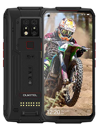 OUKITEL WP7 Unlocked Rugged Smartphone, 2021 Night Vision Camera 6GB + 128GB,Android 10 Cellphone 6.53'' FHD + Gloabl LTE,Night Vision Cell Phones Face&Fingerprint ID Mobile Phones,Black