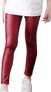 f7775128d91 ZhuiKun Niñas Leggings Pantalones de Imitación de Cuero Lápiz Invierno  Gruesos Elásticos Jeggings Leggins