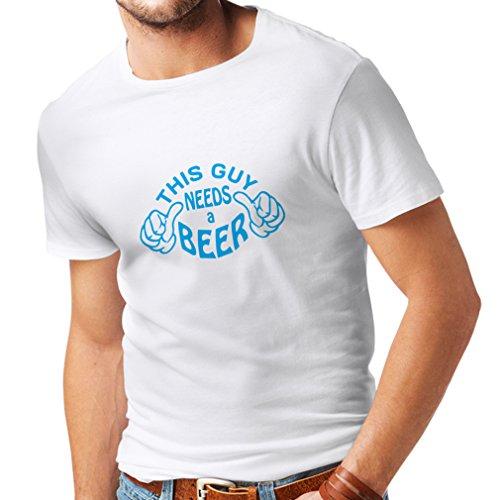 lepni.me Camisetas Hombre Este Chico Necesita una Cerveza - Ideas de Regalos chistosos para Amantes de la Cerveza, Pub, Bar, Trajes de Fiesta (XX-Large Blanco Azul)