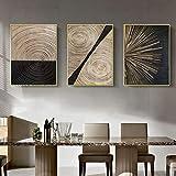 SHKJ Cartel Abstracto Minimalista nórdico de Lujo Línea Negra Dorada Arte de la Pared Pintura en Lienzo Impresión Mural Decoración para el hogar 3 Piezas 70x90cm / 27.5'x35.4 Sin Marco
