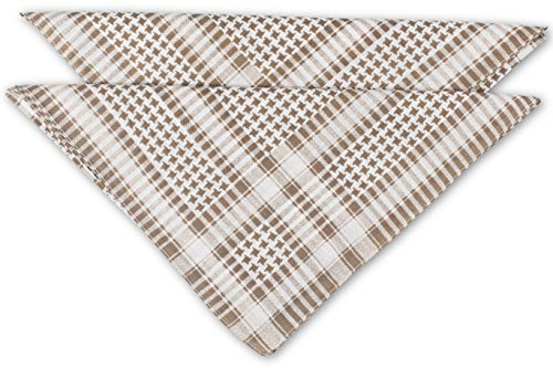 fashionchimp ® Nicki-Halstuch aus 100% Baumwolle im 2er Set, Unisex Bandana, AZO-Frei (Beige-Pepita)
