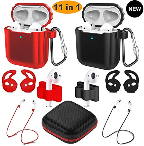Airpods Case, Airpods Accessories Kits, 2 Pack Protective Silicone Cover Apple Airpods Anti-Lost Airbag Belt, for Apple Airpods 2 \&1(compatible with wireless charging AirPods) (Black and red)