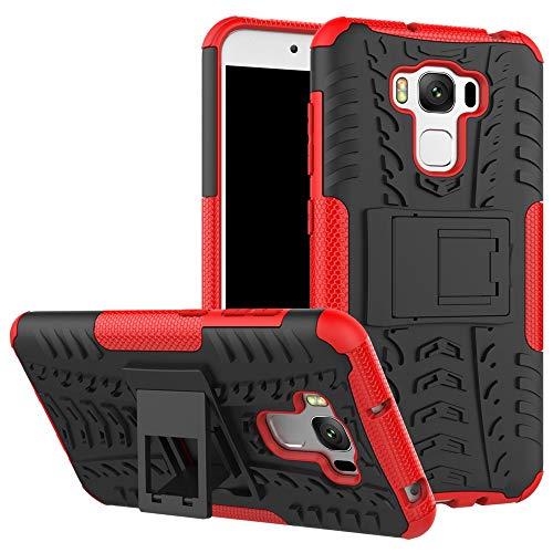 pinlu® Funda para ASUS ZenFone 3 MAX (5.5 Pulgada) ZC553KL Smartphone Doble Capa Híbrida Armadura Silicona TPU + PC Armor Heavy Duty Case Duradero Protección Neumáticos Patrón Rojo