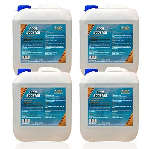 INOX® Pool Booster - 4 x 5L - Effektiver Algenvernichter Pool - Flüssiges Algizid für Pool - desinfizierendes Reinigungsmittel gegen Algen - Hochwirksame Pool Chemie