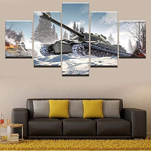 cuadro en lienzo impresión de 5 piezas - Enmarcado y listo para colgar Mundo de la guerra de tanques 150x80cm