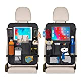 Car Seat Organizer for Kids - Backseat Organizer Kick Mat Protectors- 9 Storage Pockets and 10' Touch Screen Tablet Holder (2 Pack)