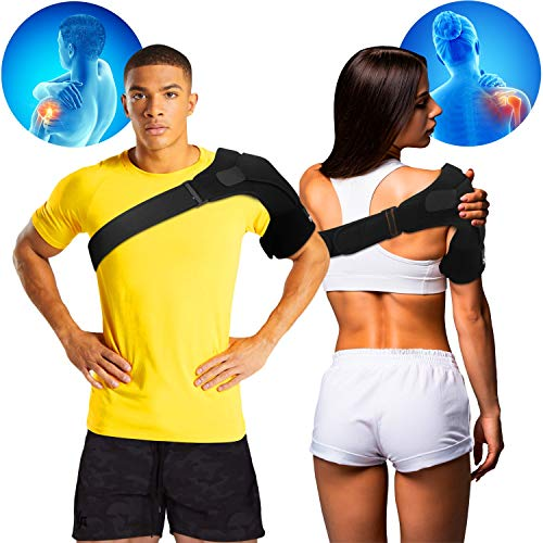 Shoulder Brace For Men And Women - Compression Sleeve Support For Torn Rotator Cuff With Ice Pack Pocket - Best Arm Immobilizer Wrap For Pain Relief And Fast Recovery
