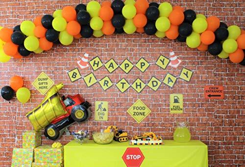 Construction Birthday Party Supplies,119pc.Orange Black Yellow Balloon Garland,Happy Birthday Construction Banner,Dump Truck Balloon,Construction Signs,DIY Arch Tool Kit,Birthday Decorations for Boys