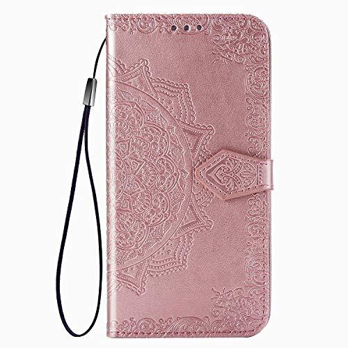 Fertuo Hülle für Oneplus Nord, Handyhülle Leder Flip Hülle Tasche mit Kartenfach, Magnet & Standfunktion [Mandala Muster] Handy Schutzhülle Ledertasche für Oneplus Nord 5G Smartphone, Rosegold