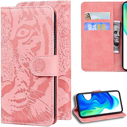 C/N DodoBuy Hülle für Umidigi A3/A3 PRO, Prägen Tiger Muster Magnetische Flip Folio Cover PU Leder Schutzhülle Handy Tasche Brieftasche Wallet Hülle Ständer mit Kartenfächer - Rosa