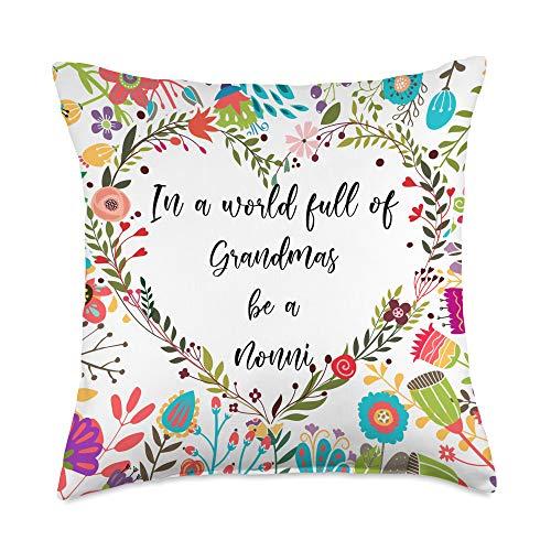 Heartful Grandma Co. In a world full of grandmas be a Nonni Throw Pillow, 18x18, Multicolor
