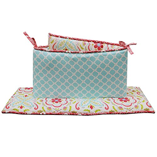 Gia or Mila Floral and Ogee Coral and Aqua Baby Girl Crib Bumper