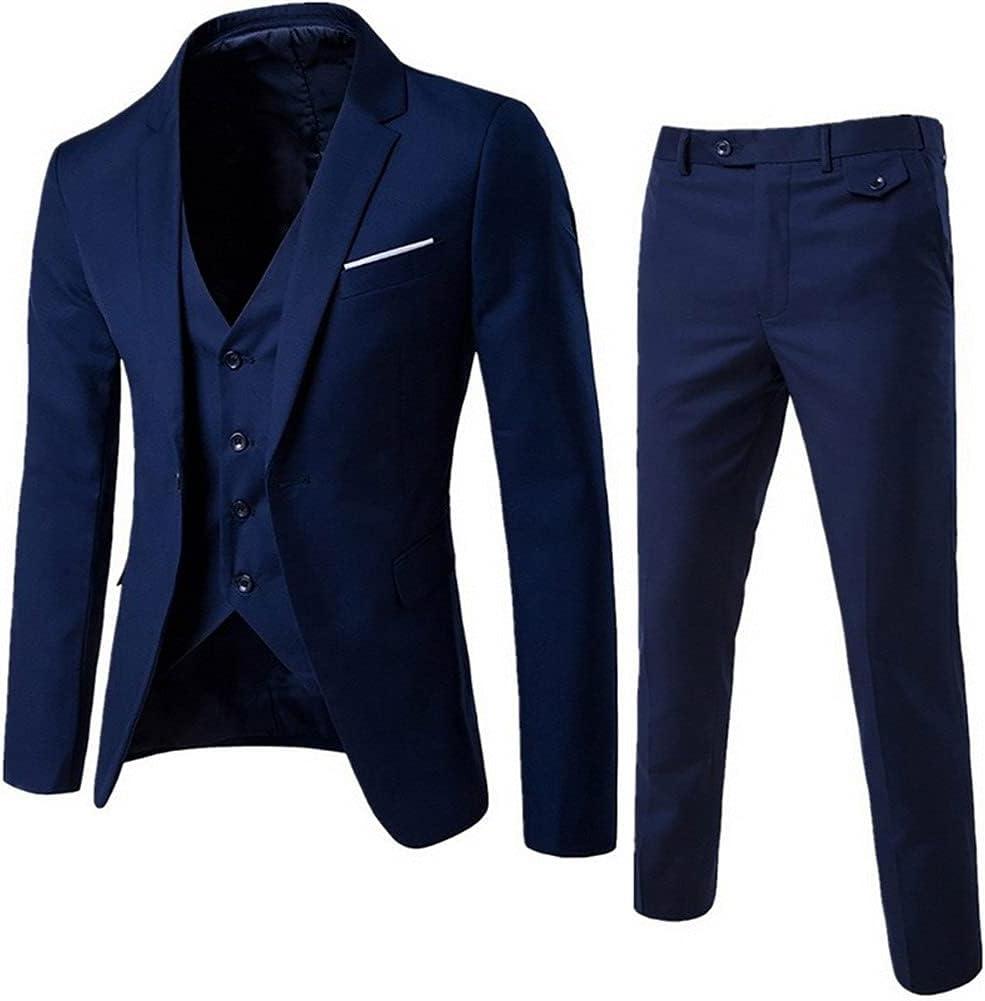 HLDETH Men's Slim Suits Business Clothing three-piece Suit Blazers Jacket Pants Trousers Vest Sets (Color : Blue, Size : L code)