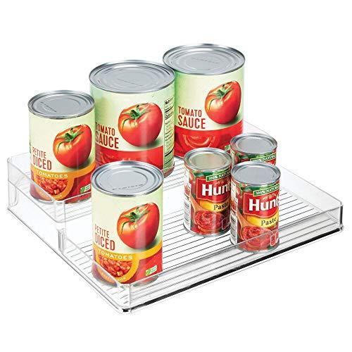 mDesign Kruidenrek voor keukenkast en keukentafel, kruidenrek met twee niveaus, doorzichtig