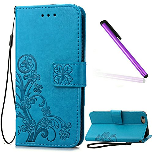 5C Case iPhone 5C Case EMAXELER Stylish Wallet Case Kickstand Flip Case Credit Cards Slot Cash Pockets PU Leather Flip Wallet Case with Stand for iPhone 5C Clover Blue