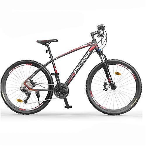 JHKGY Bicicleta De Montaña, Freno De Disco Doble Marco De Aleación De Aluminio Bicicleta De Montaña, Bicicleta De Montaña con Ruedas De Radios De 27 Velocidades Y 26 Pulgadas,Rojo