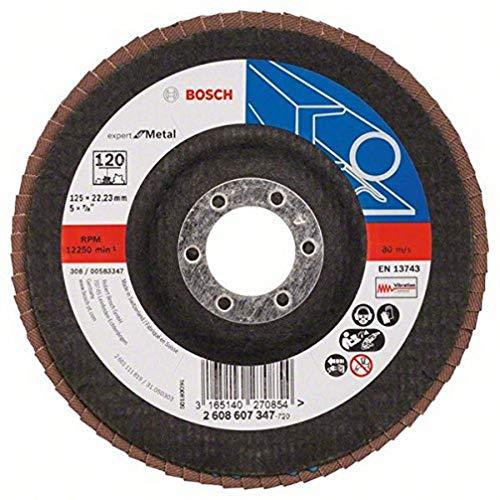 Bosch 2608607347 DIY Fächerschleifscheibe (für Winkelschleifer verschiedene Materialien, bombierte Ausführung, Ø 125 mm, Körnung 120)