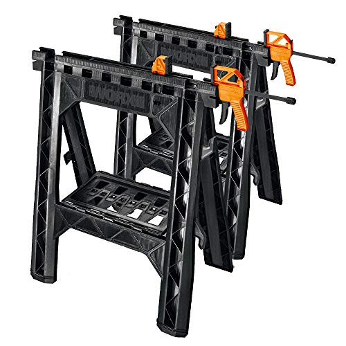WORX Clamping Sawhorse Pair with Bar Clamps, Built-in Shelf and Cord Hooks - WX065 by Worx