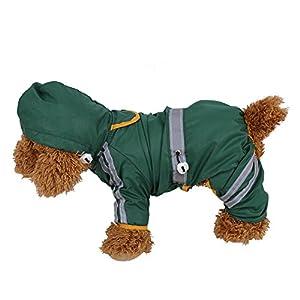 FAMKIT Manteau de pluie pour animal domestique - Vêtement pour chien - Imperméable - Réglable - Léger - Avec bande réfléchissante