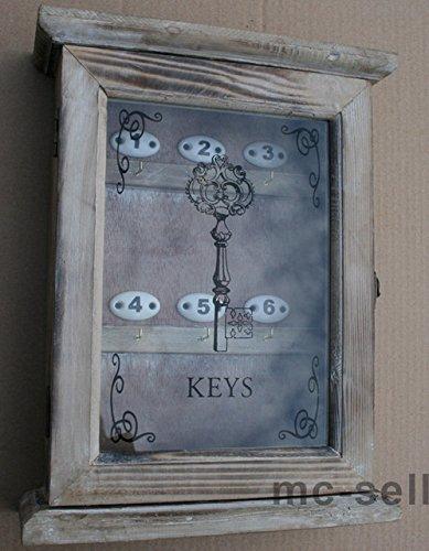 Moritz Dekorativer Schlüsselkasten in Braun aus Holz - Landhaus Stil - mit Glastür - 24,5x32cm …