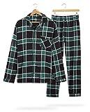 CityComfort Pijama Hombre Cuadros, Pijama Hombre Invierno Franela, Pijamas Hombre Estampado Escoces, Ropa Hombre 100% Algodon, Regalos para Hombre Talla M-3XL (Negro/Verde, XXL)